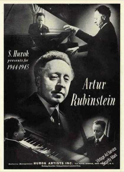 Artur Rubinstein Pianist 5 Photos Trade (1944)