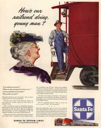 Santa Fe System Lines – How's our railroad doing, young man? (1948)