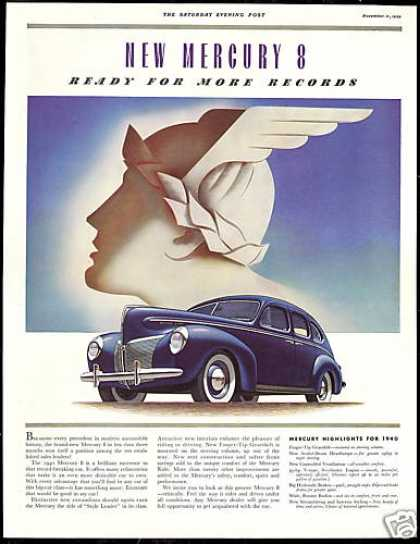 Mercury 8 4 Door Deco Vintage Print Car (1940)