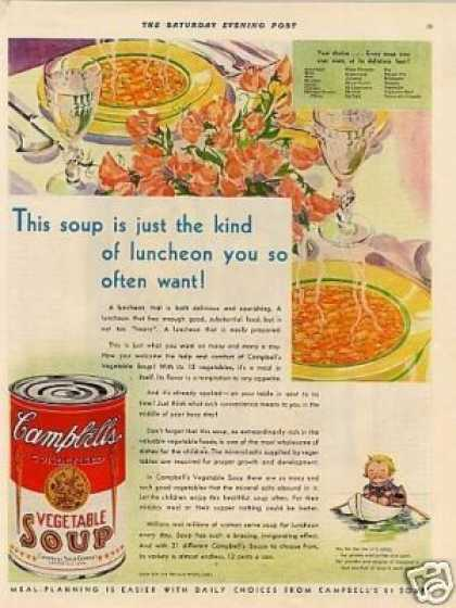 "Campbell's Vegetable Soup Ad ""This Soup Is Just... (1930)"