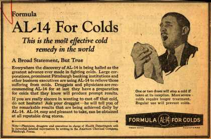 American Chemical Company's Formula AL-14 for Colds – Formula AL-14 For Colds. This is the most effective cold remedy in the world. (1928)