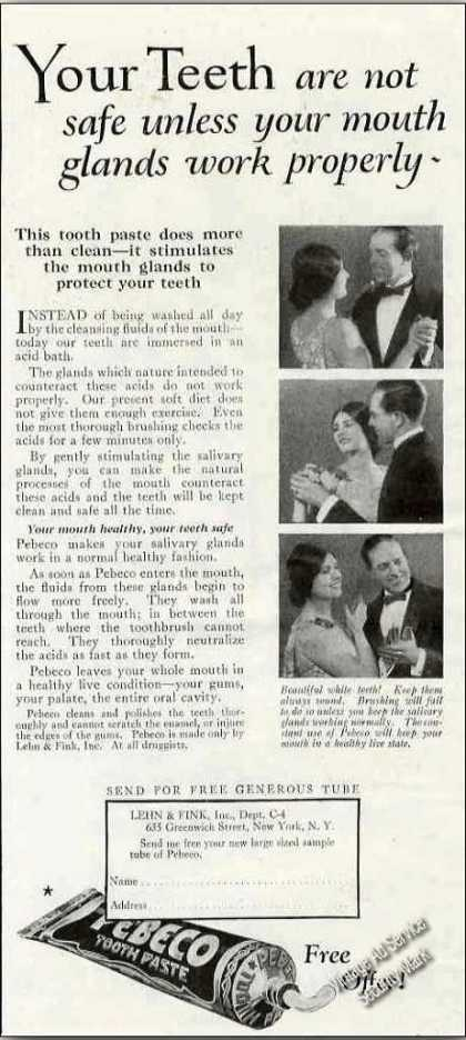 "Pebeco Toothpaste ""Stimulates Mouth Glands"" (1924)"