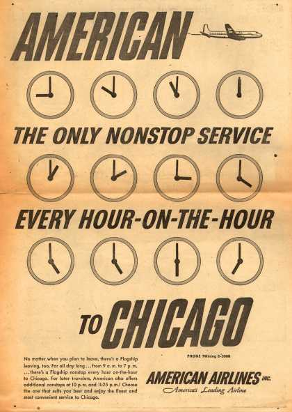 American Airlines – American. The Only Nonstop Service Every Hour-On-The-Hour To Chicago (1954)