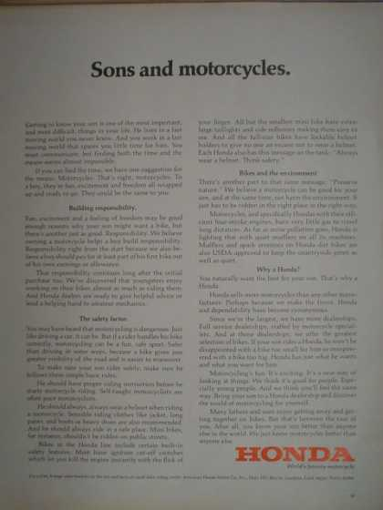Honda Motorcycles. Sons and motorcycles 2 page (1972)