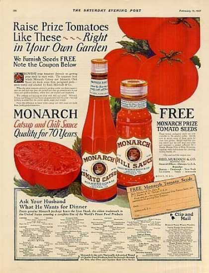 Monarch Catsup & Chili Sauce Color (1927)