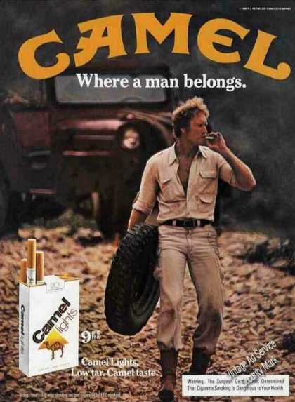 Camel Lights Man Carrying Spare Tire Cigarettes (1981)