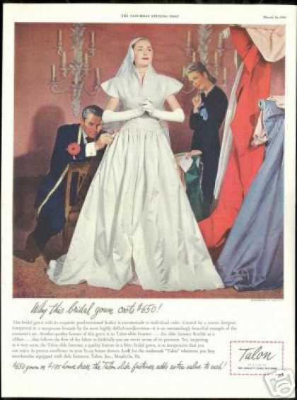 Custom Bridal Gown Dress Talon Vintage Fashion (1946)