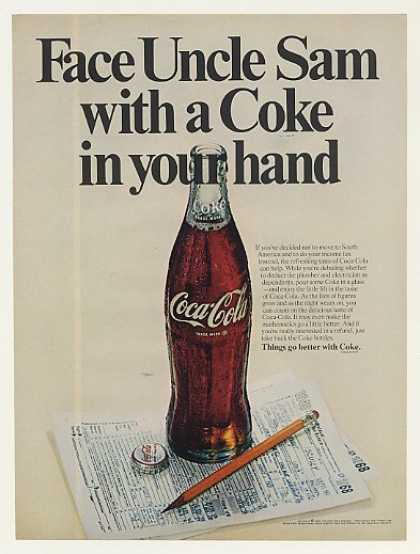 Face Uncle Sam Coke Coca-Cola Bottle Tax Form (1969)