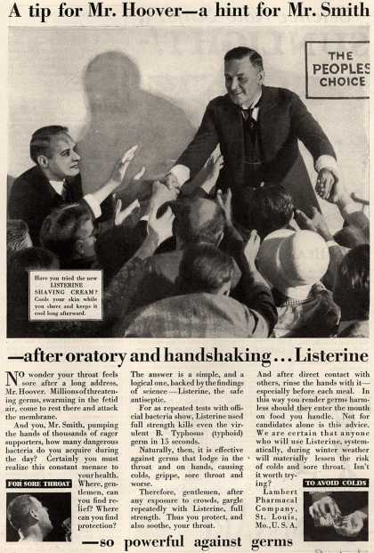Lambert Pharmacal Company's Listerine – A tip for Mr. Hoover – a hint for Mr. Smith (1928)