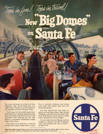 "Santa Fe Railway's Santa Fe – Tops in fun! Tops in travel! New ""Big Domes"" on Santa Fe (1954)"