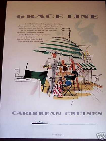 Grace Lines Cruise Ship To Caribbean Art (1955)