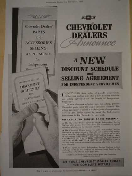 Chevy Chevrolet Dealers announce New discount schedule and selling agreement (1939)