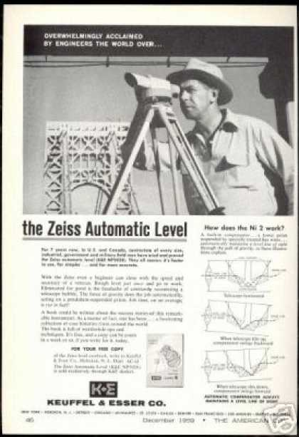 Zeiss Automatic Surveyor Level KE Keuffel Esser (1959)