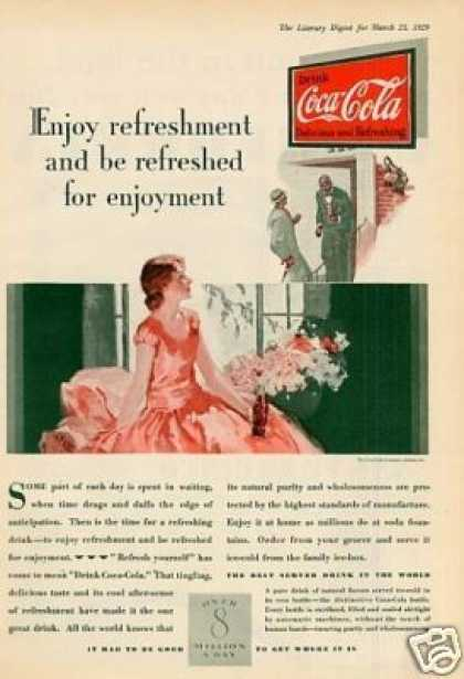 "Coca-cola Color Ad ""Enjoy Refreshment... (1929)"
