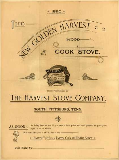 Harvest Stove Co.'s New Golden Harvest Wood Cook Stove – The New Golden Harvest Wood Cook Stove (1890)