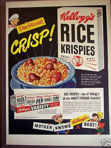 Snap Crackle Pop Rice Krispies Cereal (1949)