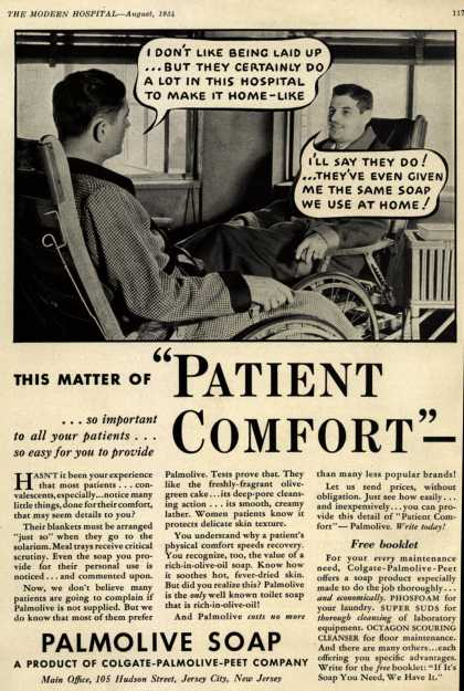 "Colgate-Palmolive-Peet Company's Palmolive Soap – This Matter of ""PATIENT COMFORT""- (1934)"