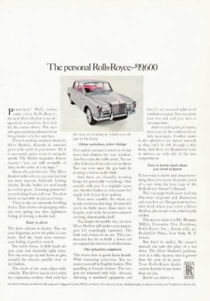 Rolls Royce Silver Shadow $19,600 (1968)