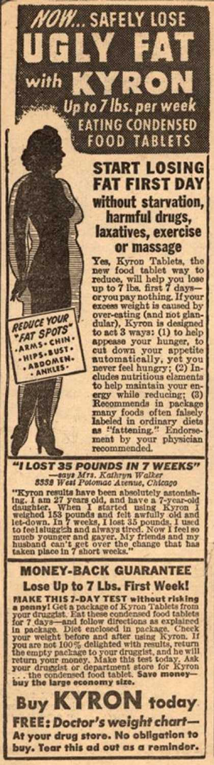 Unknown's Kyron Tablets – Now... Safely Lose Ugly Fat with Kyron Up to 7 lbs. per week Eating Condensed Food Tablets (1950)
