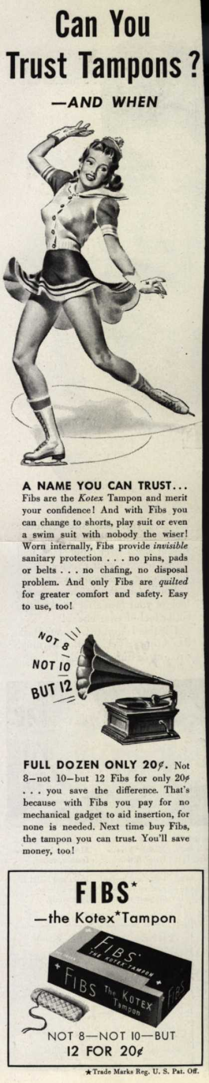 Kotex Company's FIBS, The Kotex Tampon – Can You Trust Tampons? – And when? (1942)