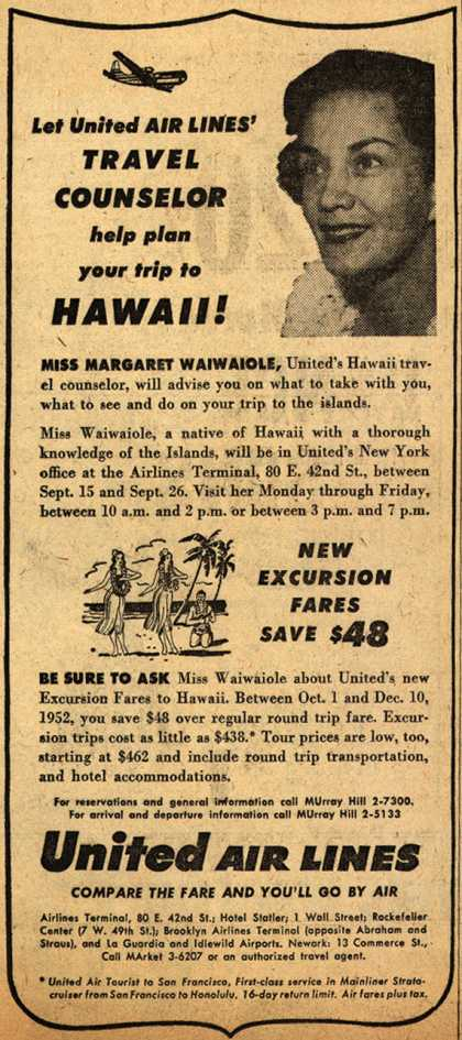 United Air Line's Travel Counselor – Let United Air Lines Travel Counselor help plan your trip to Hawaii (1952)