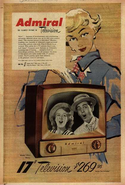 "Admiral Corporation's Admiral 17"" Television – Admiral, The Clearest Picture in Television (1951)"