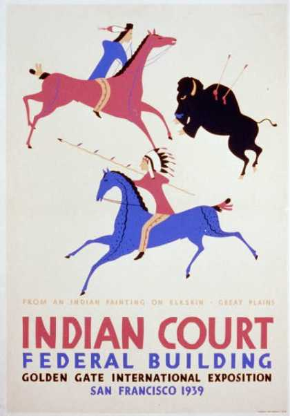Indian court, Federal Building, Golden Gate International Exposition, San Francisco, 1939 – From an Indian painting on elkskin, Great Plains / Siegr (1939)