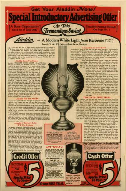 Mantle Lamp Company of America's Lamps – Aladdin – Get Your Aladdin Now! Special Introductory Advertising Offer