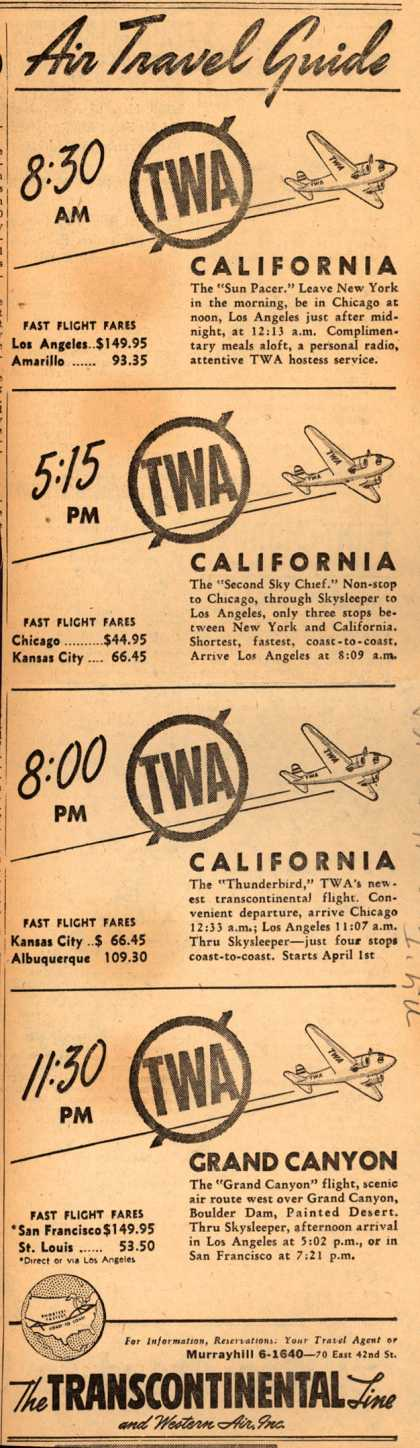 Transcontinental & Western Air – Air Travel Guide (1940)