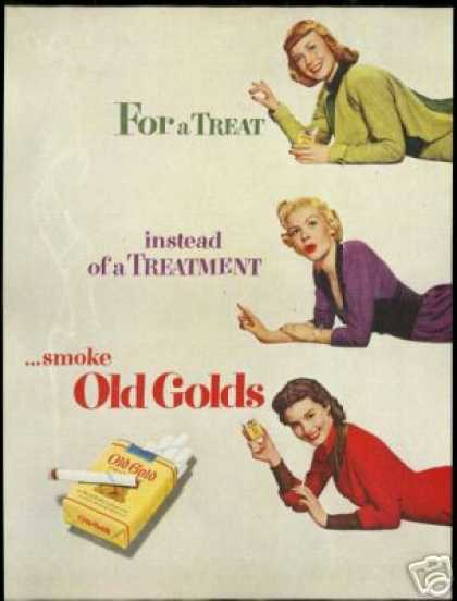 Redhead Blonde Brunette Old Gold Cigarette (1951)