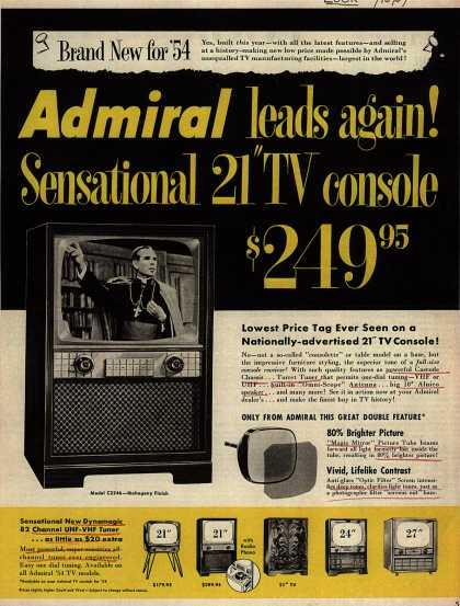 "Admiral Television's 21"" TV Console – Admiral Leads Again! Sensational 21"" TV Console. $ 249.95. (1954)"