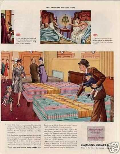 Simmons Mattress Color Ad 2 Page (1941)