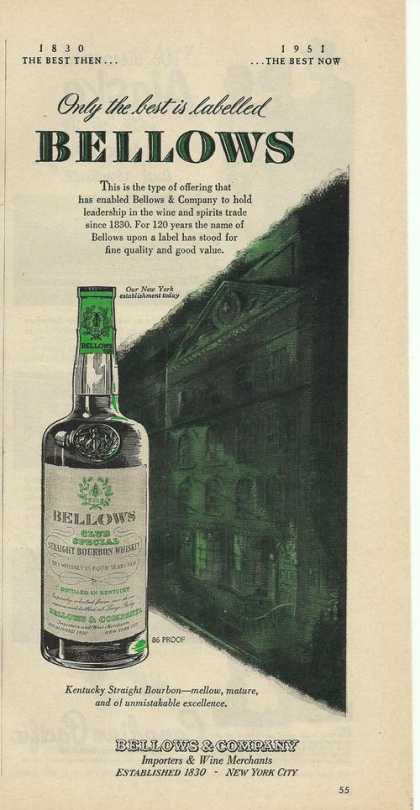 Bellows Straight Bourbon Whiskey (1951)