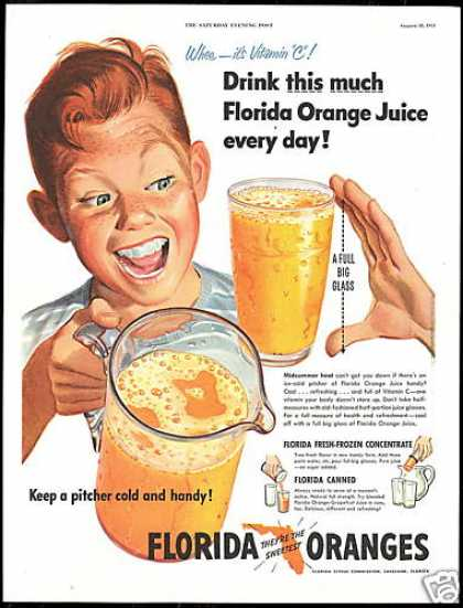 Florida Orange Juice Pitcher Glass Redhead Boy (1951)
