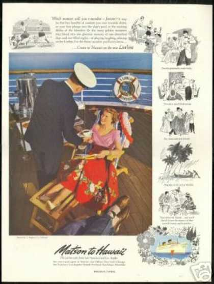 Matson Line SS Lurline Hawaii I Magnin Fashion (1950)
