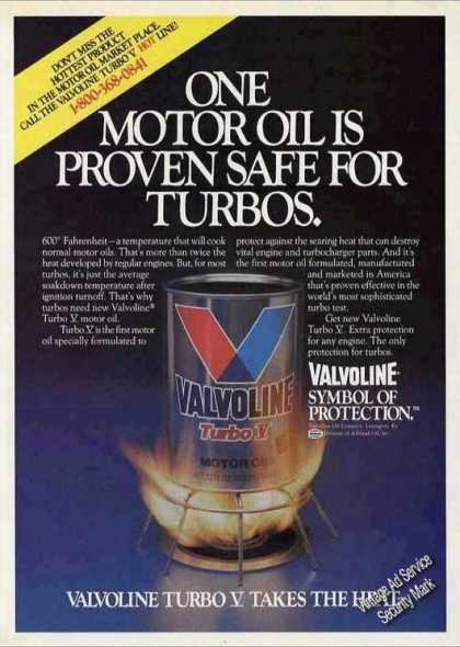 "Valvoline Motor Oil Over Fire ""Safe for Turbos"" (1984)"