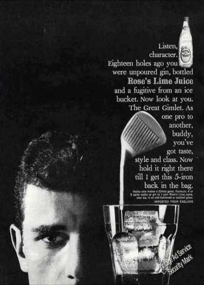 Rose's Lime Juice Gimlet Golf Theme Recipe (1961)