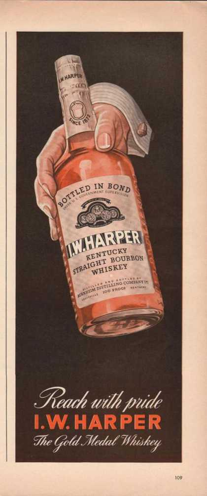 Reach With Pride I W Harper Whiskey Print (1941)