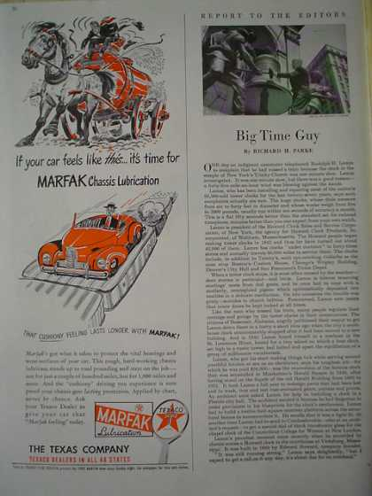 Texaco Marfak Chassis Lubrication dealers in 48 states (1947)