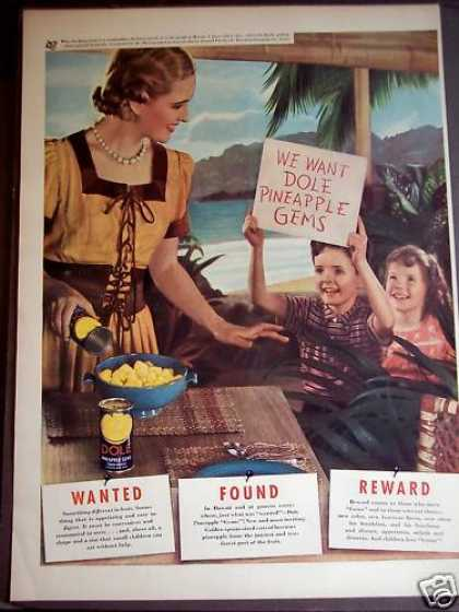 Children Want Dole Pineapples Hawaii (1939)