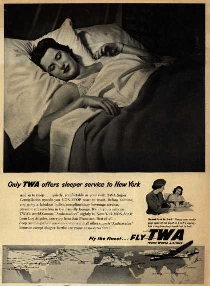 Trans World Airline's Sleeper Service – Only TWA offers sleeper service to New York (1954)