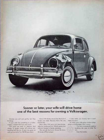 Volkswagen Beetle Bug Front End Wreck Wife Drive (1964)