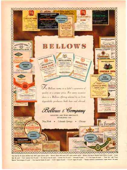 Bellows & Company Importers and Wine Merchants – Sold (1948)