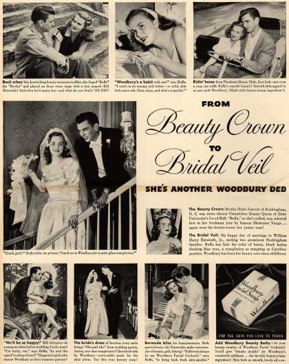 Woodbury's Facial Soap – From Beauty Crown To Bridal Veil, She's Another Woodbury Deb (1948)