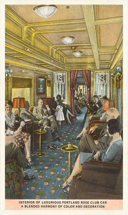Passengers in Train's Lounge Car