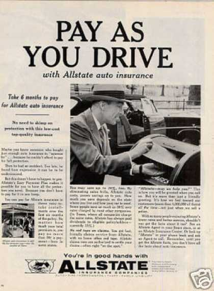 "Allstate Insurance Company Ad ""Pay As You Drive... (1958)"