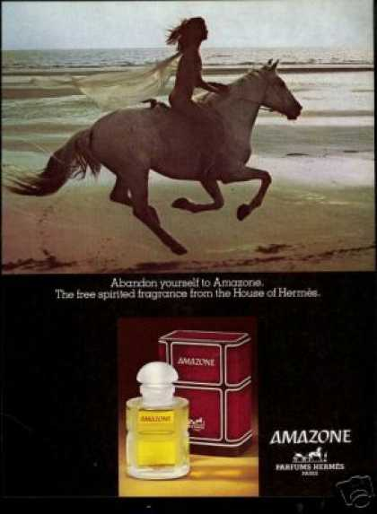 Naked Woman Horse Photo Hermes Amazone Perfume (1978)