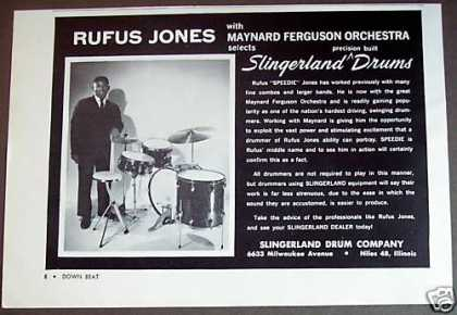 Drummer Rufus Jones Slingerland Drums Photo (1961)