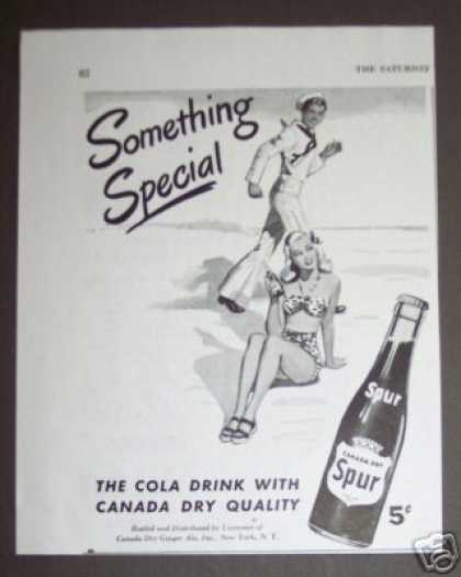 Spur Cola Soda Sailor & Girl at Beach (1945)