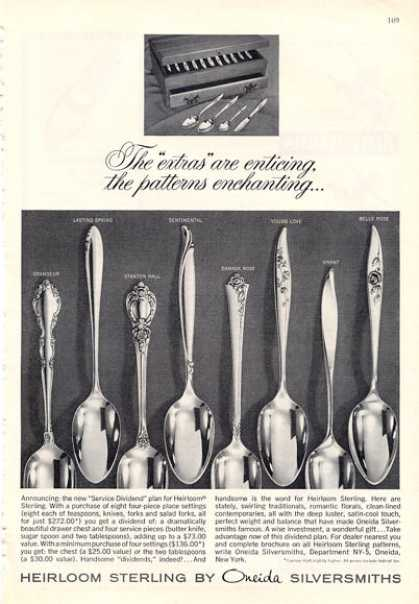 Oneida Sterling Silver 8 Patterns Photo (1964)